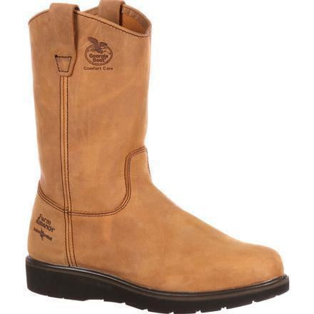 Georgia Men's Farm and Ranch Wellington Work Boot - Brown - G4432 7.5 / Medium / Brown - Overlook Boots