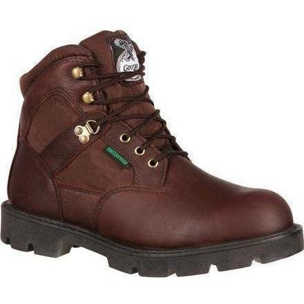 "Georgia Men's Homeland 6"" Waterproof Work Boot - Brown - G106 8 / Medium / Brown - Overlook Boots"