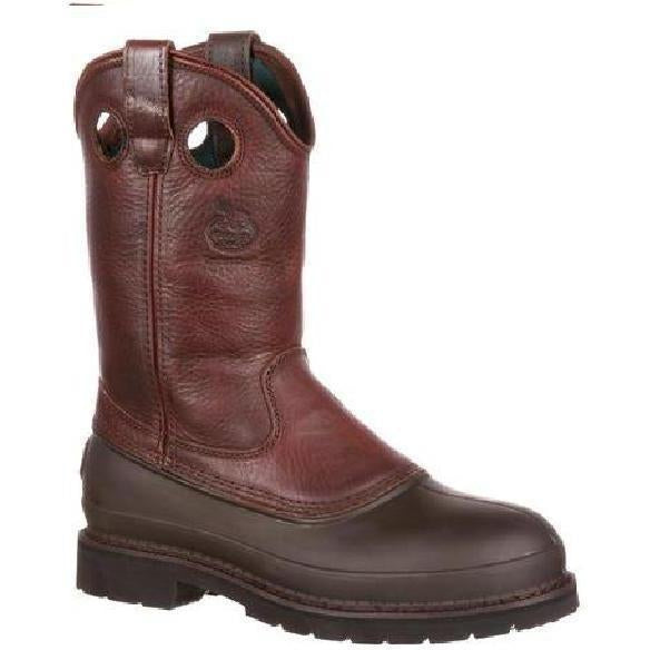 Georgia Men's Muddog Steel Toe Wellington WP Work Boot - Brown - G5655 7.5 / Medium / Brown - Overlook Boots