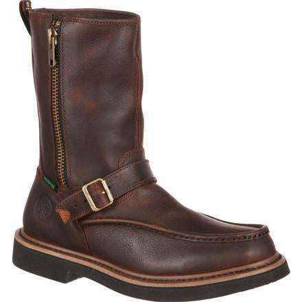 Georgia Men's Side Zip Waterproof Wellington Work Boot - Brown - G4124 7.5 / Medium / Brown - Overlook Boots
