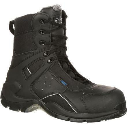 "Rocky Men's 1st Med 8"" WP Carb Fiber Toe Side Zip Duty Boot FQ0911113 7.5 / Medium / Black - Overlook Boots"