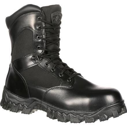 "Rocky Men's Alphaforce 8"" Zipper Comp Toe WP Duty Boot Black FQ0006173 7.5 / Medium / Black - Overlook Boots"