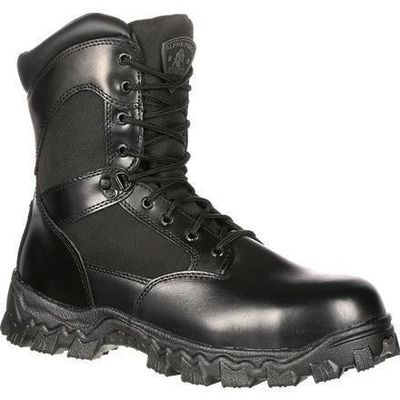 "Rocky Men's Alphaforce 8"" Zipper WP Duty Boot - Black - FQ0002173 7.5 / Medium / Black - Overlook Boots"
