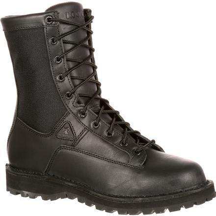 "Rocky Men's Lace to Toe 8"" Waterproof Duty Boot - Black  - FQ0002080 7.5 / Medium / Black - Overlook Boots"