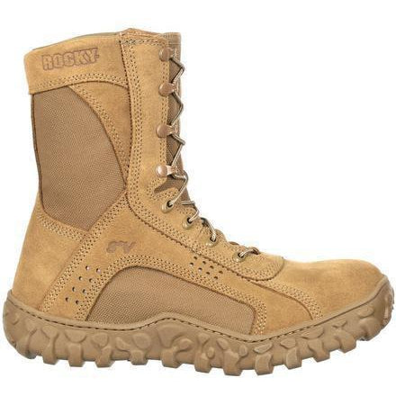 "Rocky Men's S2V 8"" Steel Toe Tactical Military Boot - Brown - RKC053 7.5 / Medium / Brown - Overlook Boots"