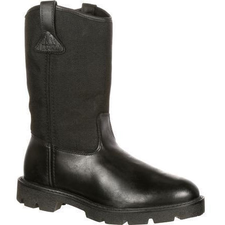 Rocky Men's Warden Pull-On Wellington Duty Boot - Black - FQ0006300 8 / Extra Wide / Black - Overlook Boots