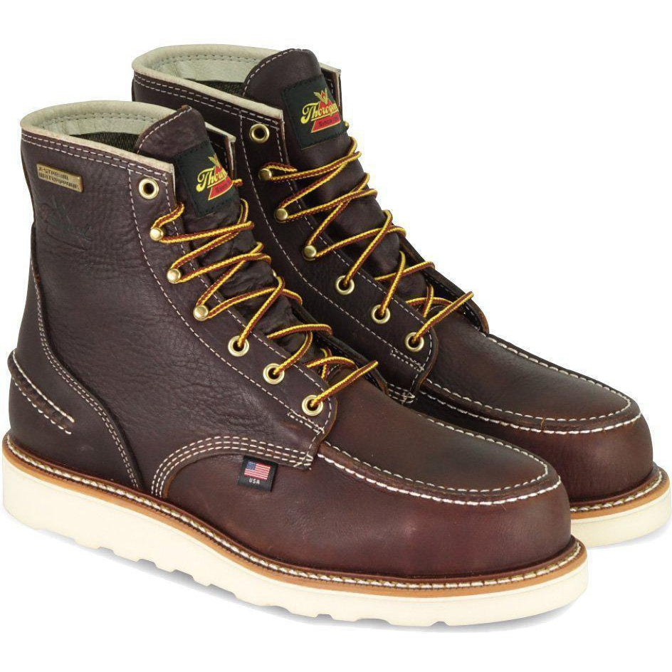 "Thorogood Men's USA Made 1957 6"" Moc Safety Toe WP Work Boot 804-3600 8 / Medium / Brown - Overlook Boots"