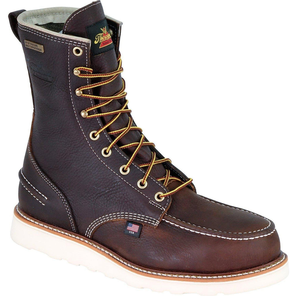 "Thorogood Men's USA Made 1957 8"" Moc Safety Toe WP Work Boot 804-3800 8 / Medium / Brown - Overlook Boots"