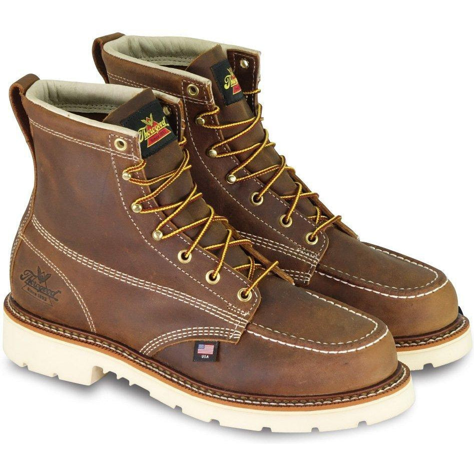 "Thorogood Men's USA Made Amer. Heritage 6"" Stl Toe Work Boot- 804-4375 8 / Medium / Brown - Overlook Boots"