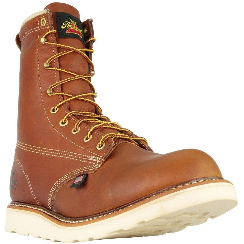 "Thorogood Men's USA Made Amer. Heritage 8"" Stl Toe Work Boot 804-4364 7 / Medium / Tobacco - Overlook Boots"