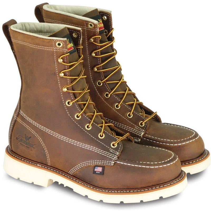 "Thorogood Men's USA Made Amer. Heritage 8"" Stl Toe Work Boot 804-4378 7 / Medium / Brown - Overlook Boots"