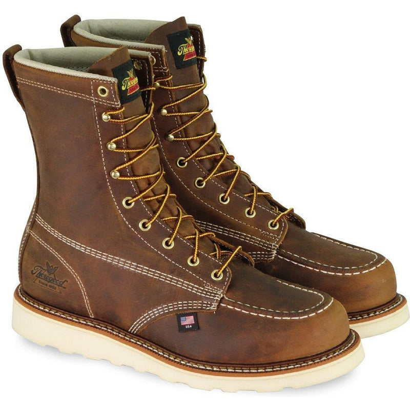 "Thorogood Men's USA Made Amer. Heritage 8"" Stl Toe Work Boot 804-4478 8 / Medium / Brown - Overlook Boots"