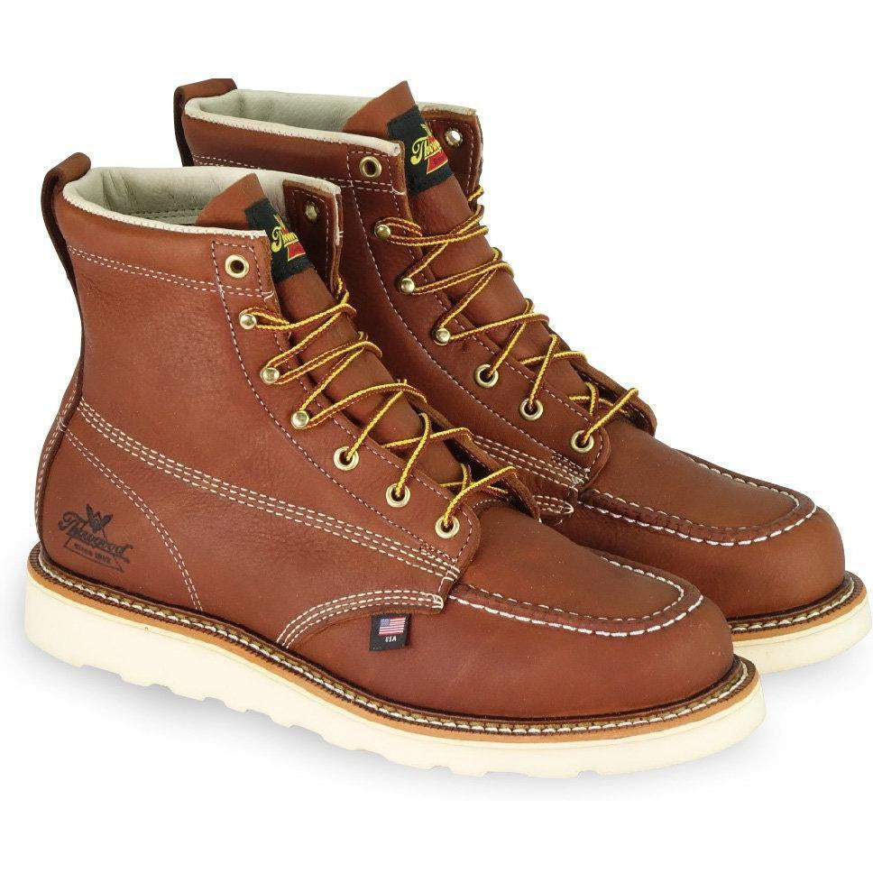 "Thorogood Men's USA Made American Heritage 6""  Work Boot - 814-4200 5.5 / Medium / Tobacco - Overlook Boots"