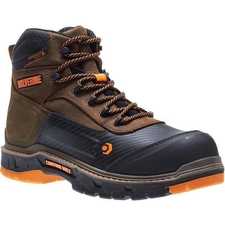 "Wolverine Men's Overpass Safety Toe 6"" WP Work Boot - Brown - W10717 7 / Medium / Brown - Overlook Boots"