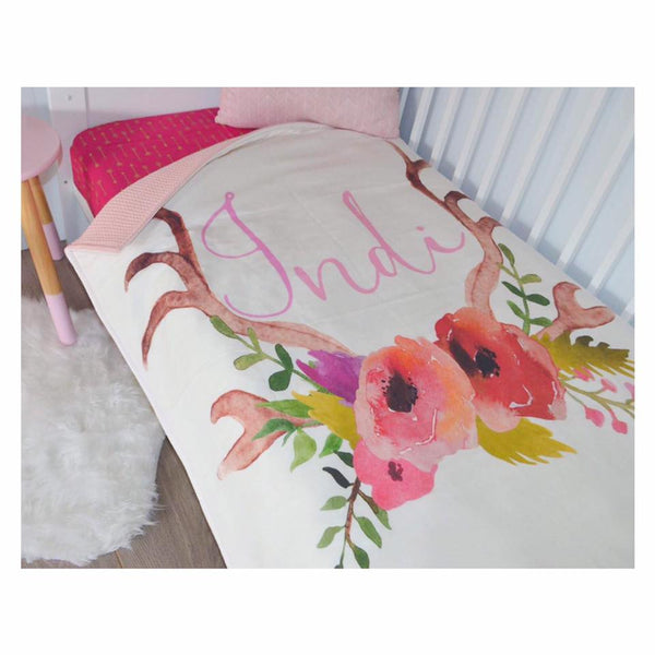 Personalised Cot Quilt - Antler Blooms