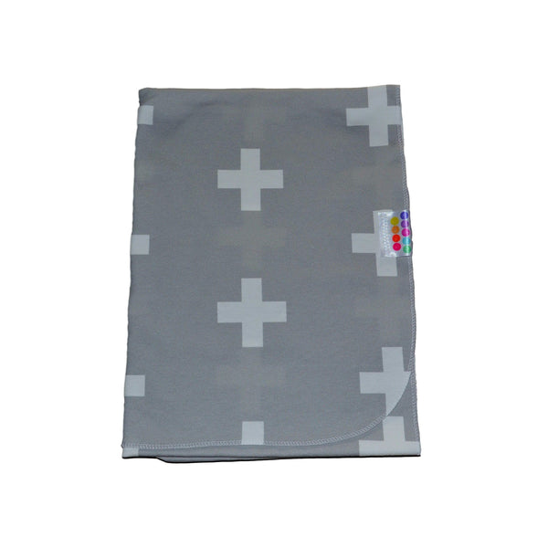 Grey Cross Organic Swaddle Blanket