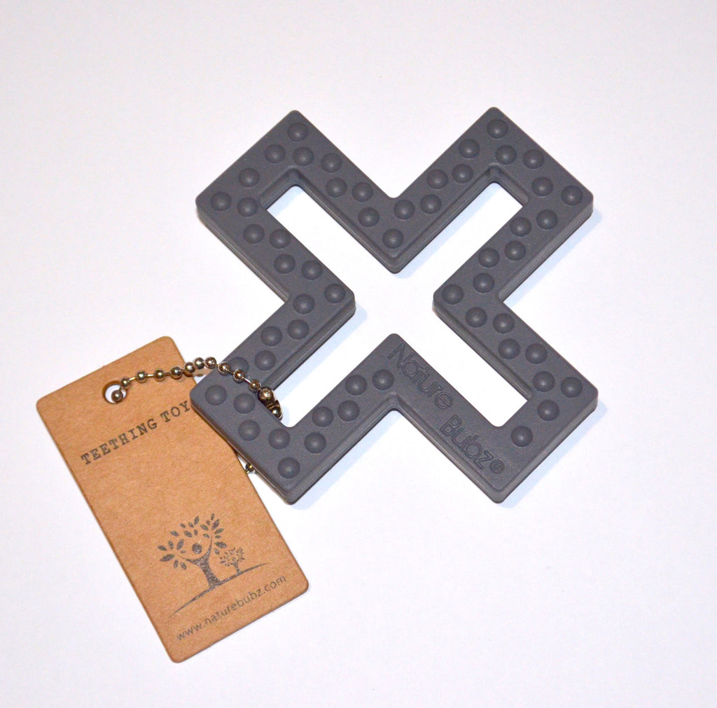 Swiss Cross Teether - Charcoal