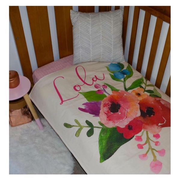 Personalised Cot Quilt - Watercolor Garden