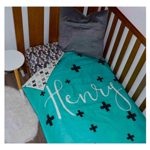 Personalised Cot Quilt - Crosses