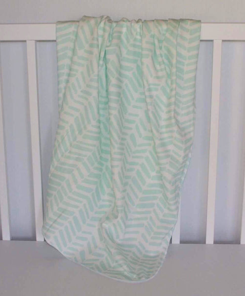 Mint Herringbone Organic Swaddle Blanket