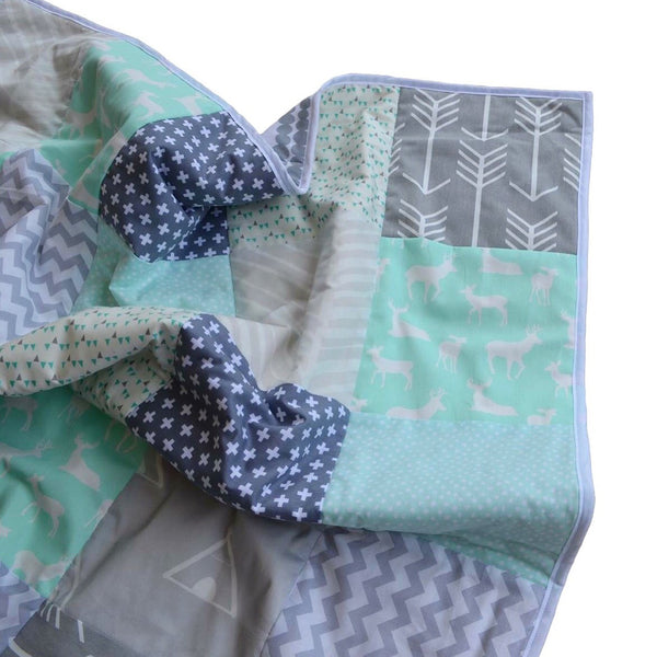 """Mint Dreams"" Patchwork Quilt"