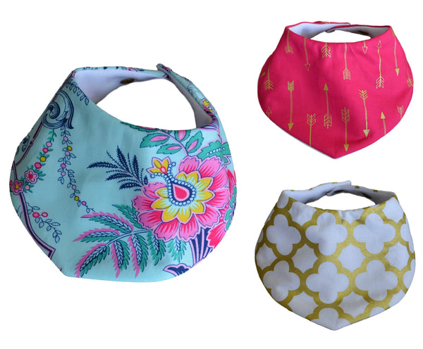 Bandana Bibs - Fuchsia Floral Collection