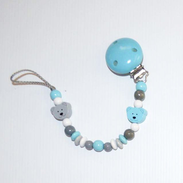 Dummy Clip // turquoise & grey bears with turquoise clip