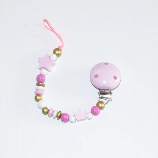 Dummy Clip // baby pink crown & star