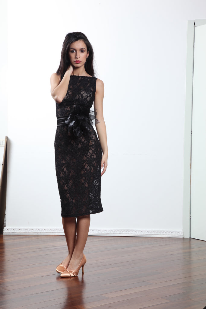 Black Lace Cocktail, Tango & Latin Dress Made in Italy Discounted Now!