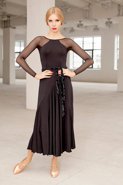 black ballroom dress or evening dress with lace and long sleeves from dancewear for you australia