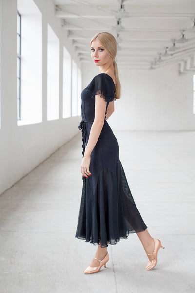 black ballroom dress or evening dress with net overlay and floaty sleeves from dancewear for you australia