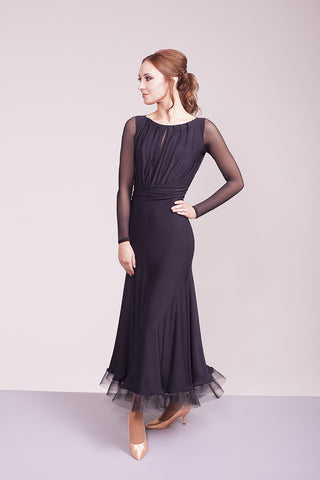 evermore black ballroom dress with sheer long sleeves from dancewear for you australia