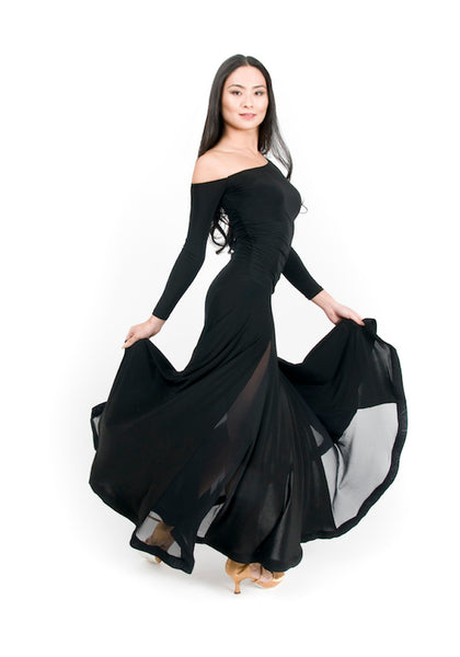 ladies black ballroom dress with long sleeves from dancewear for you australia