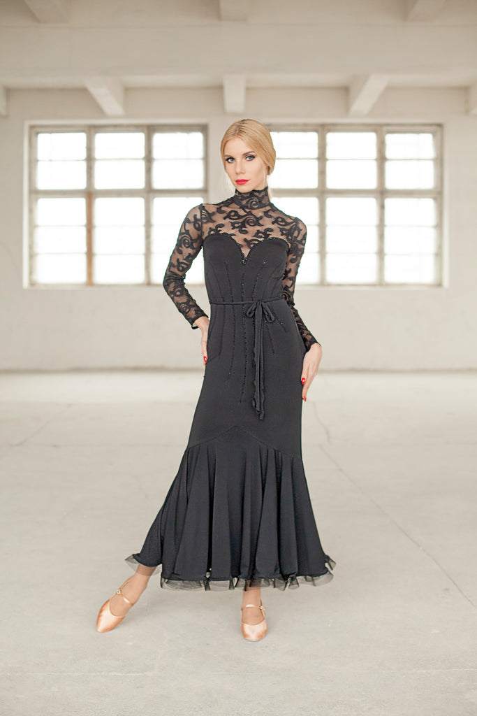 long ballroom dress or evening wear dress in black with high neckline with long lace sleeves and lace covered back and neckline in vintage design from dancewear for you australia
