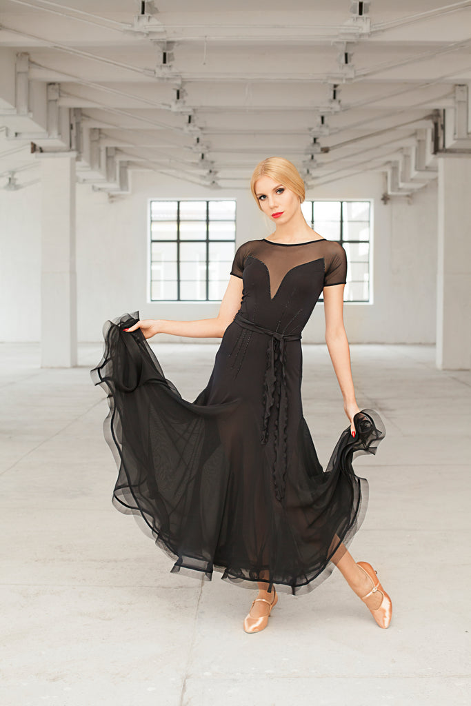 long black ballroom dress or evening wear dress with short net sleeves and a sheer mesh back and crinoline hem with sheer net godets from dancewear for you australia