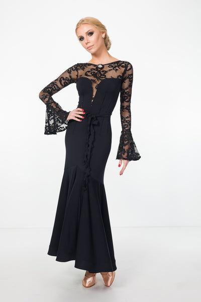 black ballroom dress or evening dress with lace and long lace floaty sleeves from dancewear for you australia