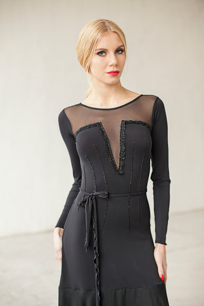 mid length ballroom or evening wear or cocktail dress in black with stretch net neckline and long sleeves from dancewear for you australia