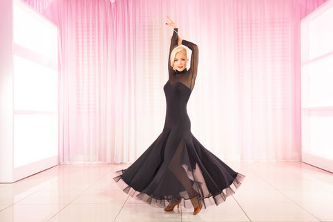 chrisanne black ballroom dress from dancewear for you australia