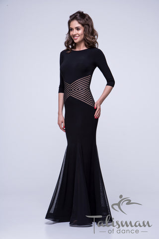 Ballroom Dress with Beautifully Slimming Waist Detail, Stretch Net, Fit & Flare Style Skirt for practice, performance, DanceSport and social dancing or evening wear.