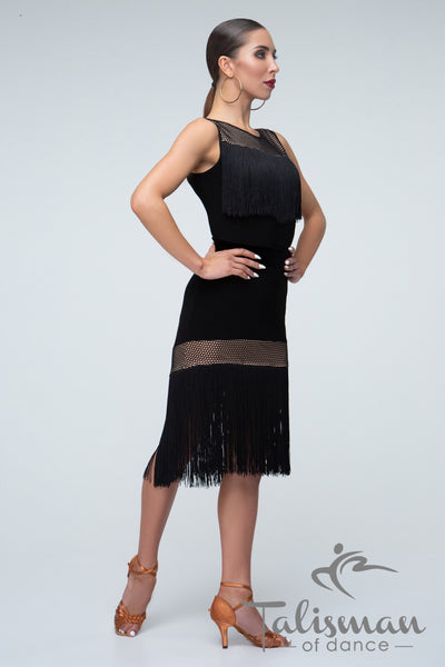 Black Latin Fringe Skirt Yul-956