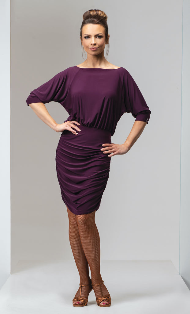 Chrisanne Clover Lizzie Latin Dress in Black or Plum.  latin and cocktail wear dress with fitted ruched skirt, batwing  3/4 length sleeves from dancewear for you in perth with free australia shipping