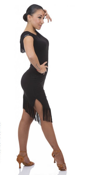 A simple stretch dress perfect for practice, performance or social dancing.  A sexy lace back with fringe detail plus fringed hemline make this simple dress fun and versatile for every occasion.