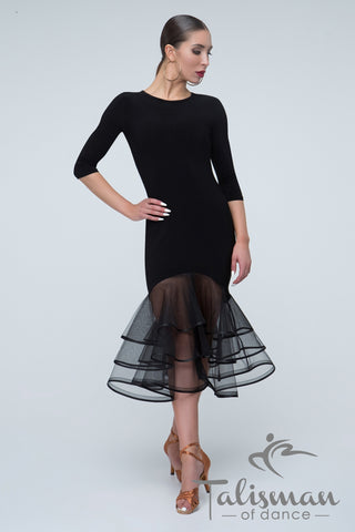 Beautiful Dress for Latin, Samba, Salsa practice, performance, DanceSport and social dancing or evening and cocktail wear made with slimline fit, 3/4 sleeves and stunning layered sheer organza skirts designed to kick out just above the knee.