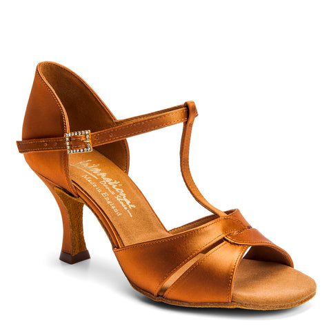 1018 Ladies Latin Shoe - Tan Satin