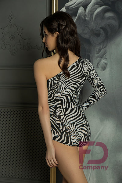 Gorgeous Bodysuit with one shoulder and single long sleeve in 2 animal prints.  Made with stretch crepe in Ukraine. This versatile leotard is perfect for Teaching, Evening Wear, Social Dancing, Practice or Performance.    FD - Family Dance Company Dancewear Clothing