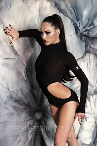 stesh atelier sexy black bodysuit with long sleeves and side cut outs for latin performance and competition from dancewear for you australia