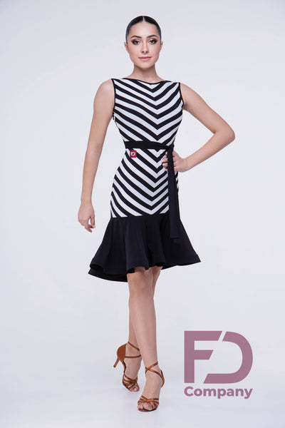Fun and Flirty Sleeveless Latin Dress with slimming black & white pattern and gorgeous ruffle hemline.  Made with stretch crepe.  Perfect for Evening Wear, Social Dancing, Practice or Performance.