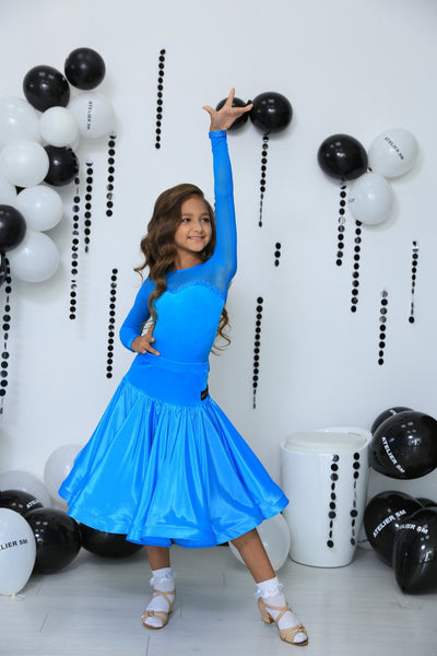 Juvenile Ballroom Gown Long Mesh Sleeves in Turquoise
