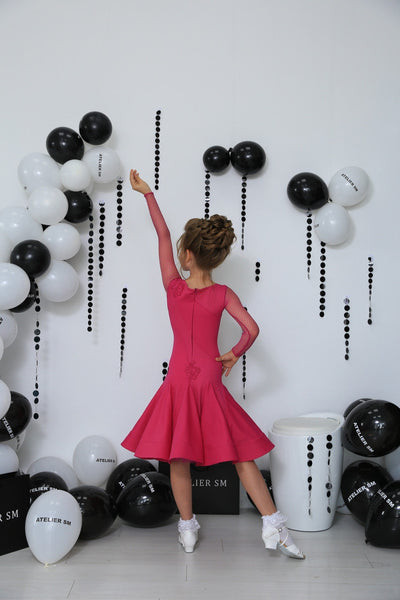 Juvenile Ballroom & Latin Dress created by Atelier SM in Magenta.  This dress is available in most colours.  Just drop me a line with your selections.    Atelier SM Juvenile Dresses  Stunning, quality Girls Juvenile Ballroom & Latin DanceSport Dresses