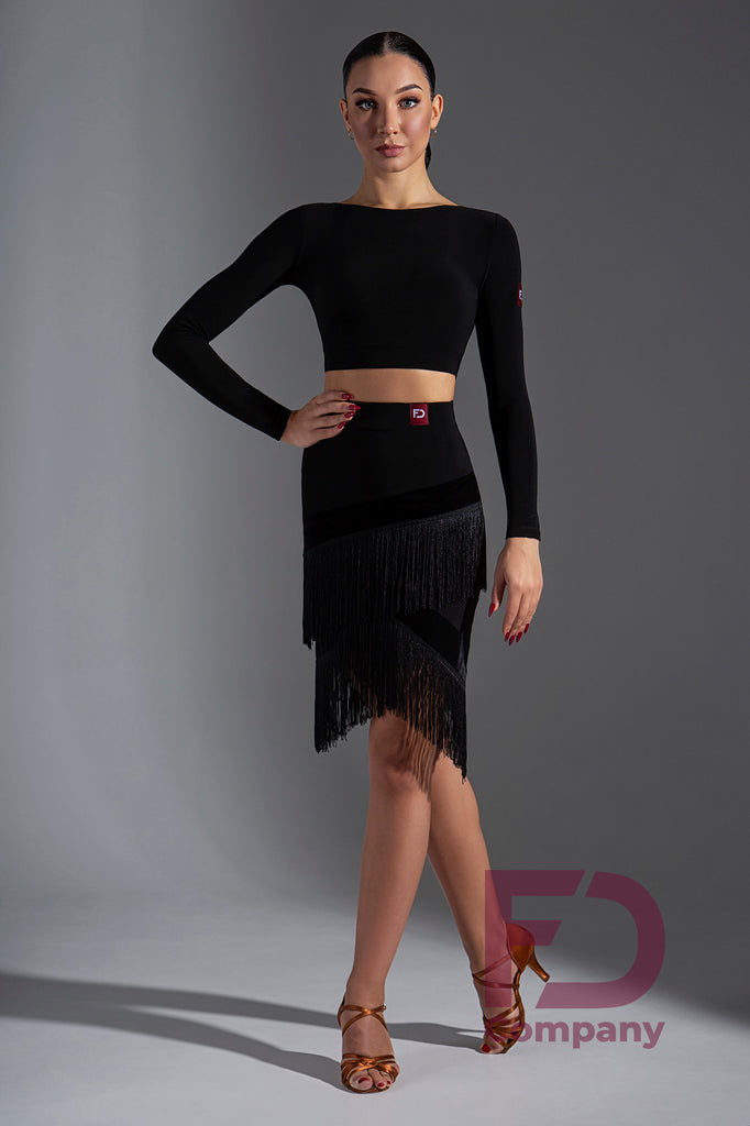 Stylish Latin Fringe Skirt with a straight silhouette, built-in pants, elastic waist with 4cm stitched belt, herringbone-shaped undercuts, long fringe for a stunning look and plenty of movement!   Made with Stretch Crepe & Stretch Velvet.  Perfect for practice, social dancing, competition or performance.
